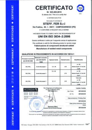 Certificazione per fabbricazione di componenti strutturali saldati
